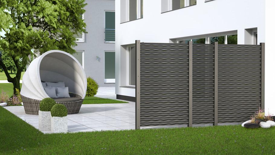 3D-Visualisierung eines Gartenzauns für Brügmann TraumGarten - FLOW