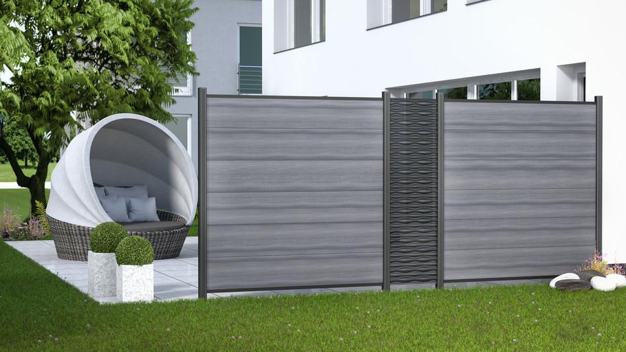 3D-Visualisierung eines Gartenzauns für Brügmann TraumGarten - WPC PLATINUM + FLOW