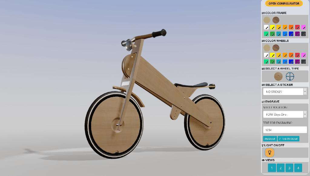 3D Produkt-Konfigurator - Demo Kinder-Laufrad